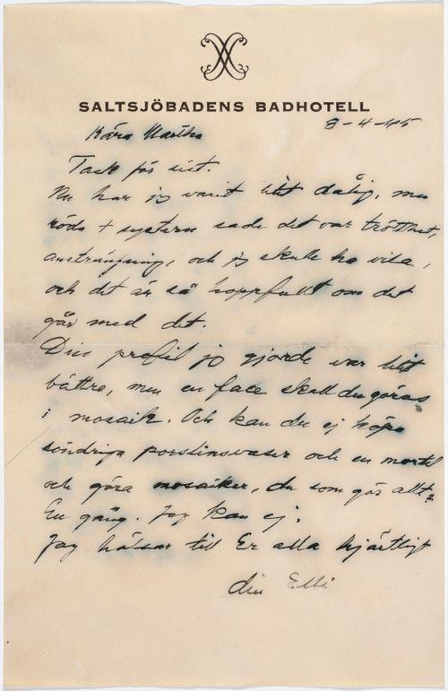 Helene Schjerfbeckin kirje Martha Neiglick-Platonoffille 08.04.1945