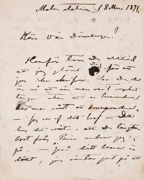 Akseli Gallen-Kallela's letter to Carl Dørnberger 18.3.1891