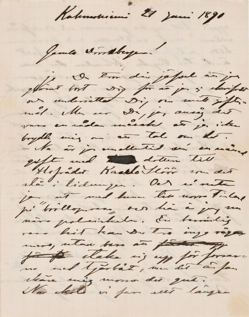 Akseli Gallen-Kallela's letter to Carl Dørnberger 21.6.1890