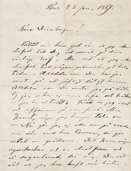 Akseli Gallen-Kallela's letter to Carl Dørnberger 22.1.1889