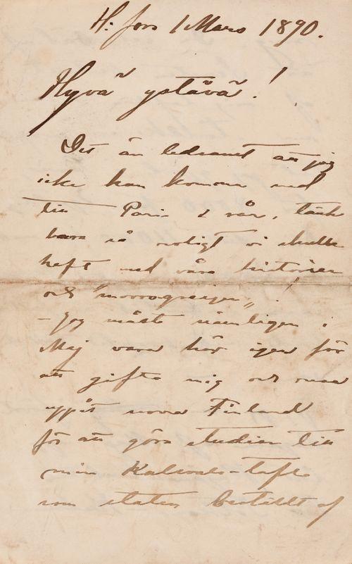 Akseli Gallen-Kallela's letter to Carl Dørnberger 1.3.1890