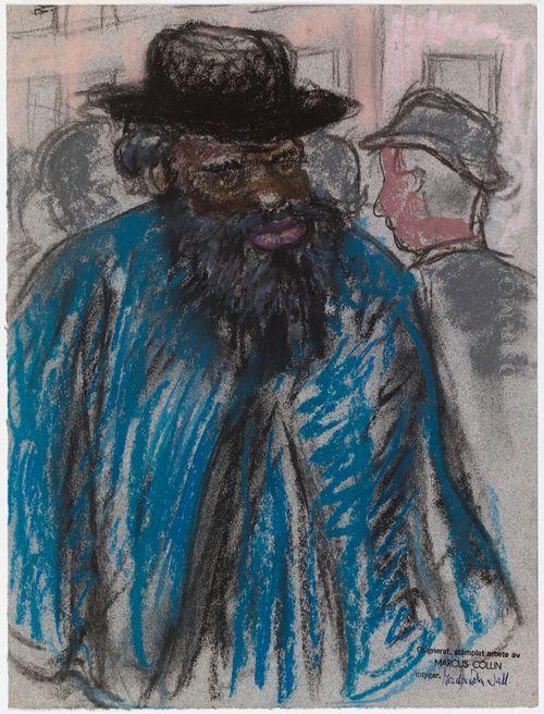 Mustapartainen tumma mies sinisessä takissa
