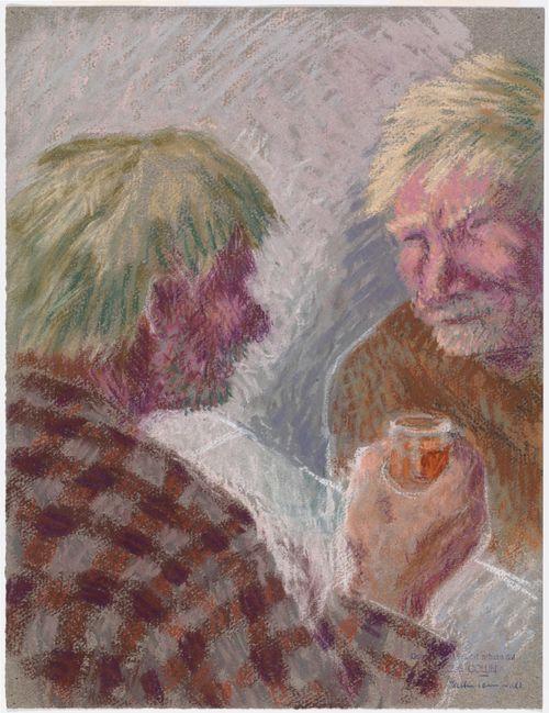 Kaksi miestä pöydän ääressä