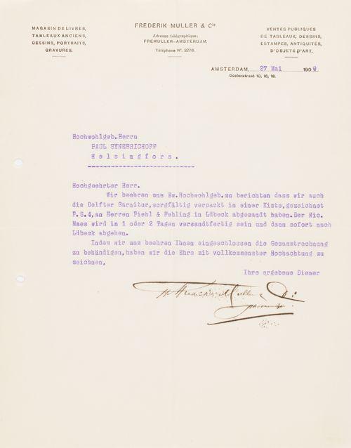 Frederik Mullerin kirje Paul Sinebrychoffille 27.5.1909