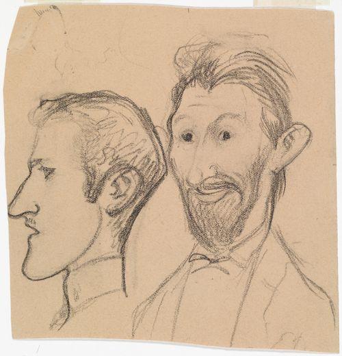 Karikatuuri O. Donnerista ja tuntemattomasta henkilöstä, päät