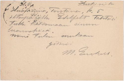 TKK/En280, Magnus Enckellin postikortti Eemil Haloselle 20.4.1899