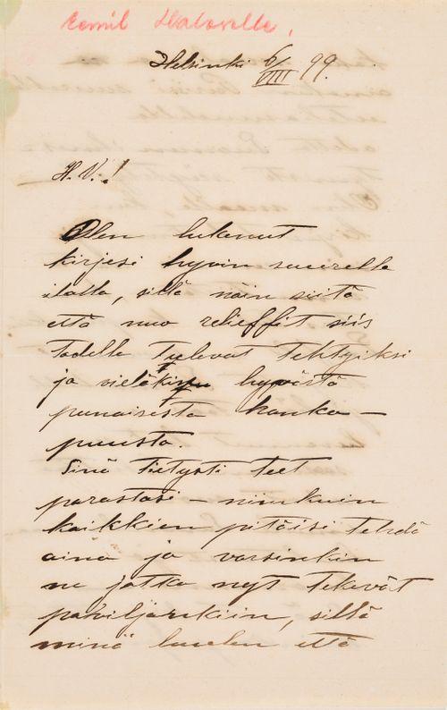 TKK/En281, Magnus Enckellin kirje Eemil Haloselle 6.8.1899