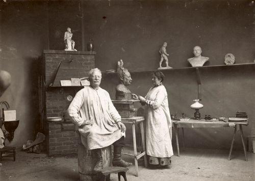 Ville ja Viivi Vallgren Leppävaaran ateljeessa