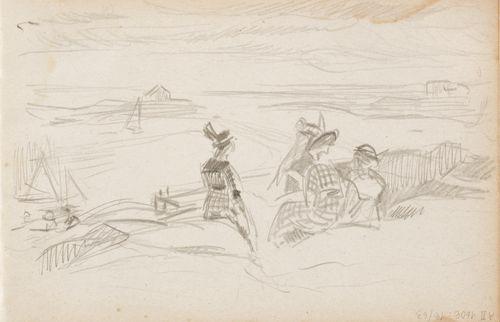 Naisia kalliolla, merimaisema, luonnos