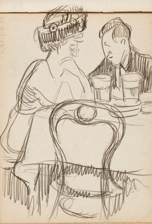 Mies ja nainen pöydän ääressä, luonnos