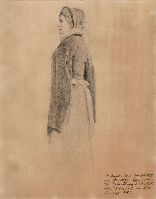 Ebba Fleming, luonnospiirustus Edelfeltin Kaarle-herttua herjaa Klaus Flemingin ruumista -maalaukseen