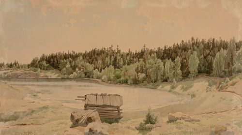 Järvenlahtimaisema, etualalla vanha lato ja taustalla metsäinen ranta