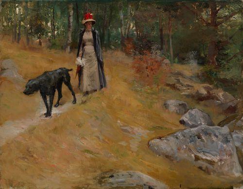 Rantatöyräällä (Annie Edelfelt koiran kanssa)