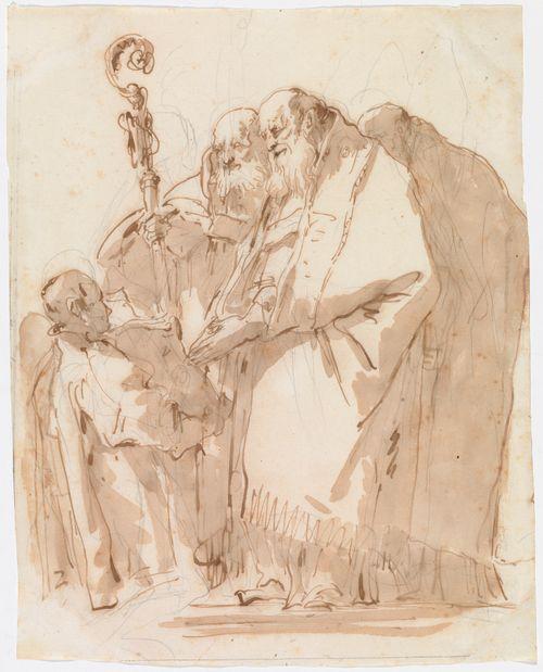 Piispa, kaksi pappia ja apulainen joka kannattelee avointa kirjaa heidän edessään