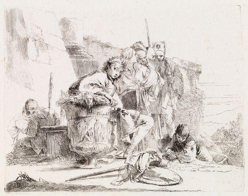 Istuva nuorukainen, joka nojaa suureen vaasiin, sarjasta Vari Capricci