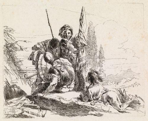 Kolme sotilasta ja maassa makaava poika, sarjasta Vari Capricci