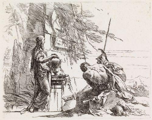 Nainen kädet ruukun päällä, sotilas ja orja, sarjasta Vari Capricci