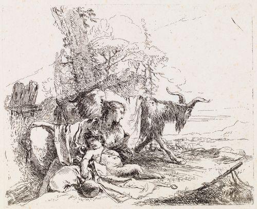 Nymfi pienen satyyrin kanssa ja kaksi vuohta, sarjasta Vari Capricci