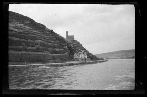 Rein-joki, taustalla viinipensaita ja linnanraunio