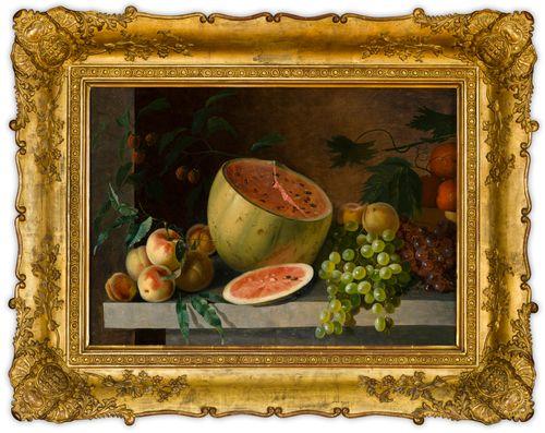 Meloni, omenoita ja viinirypäleitä