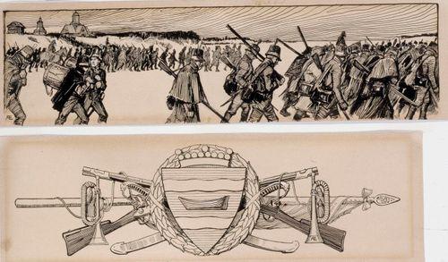 Adlercreutz-runon sivuvinjetti, originaalipiirustus Vänrikki Stoolin tarinain kuvitukseen