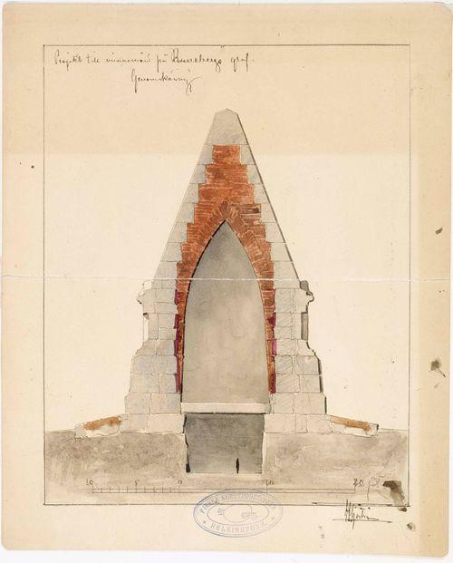 J.L.Runebergin hautamuistomerkkisuunnitelman läpileikkauspiirustus