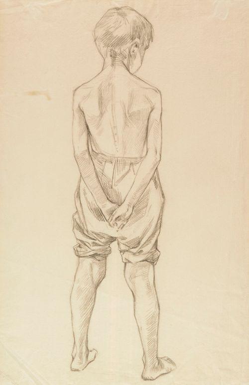 Selin seisova poika, harjoitelma maalaukseen Leikkiviä poikia rannalla