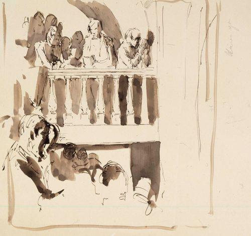 Ihmisjoukko balkongilla ja sen alla