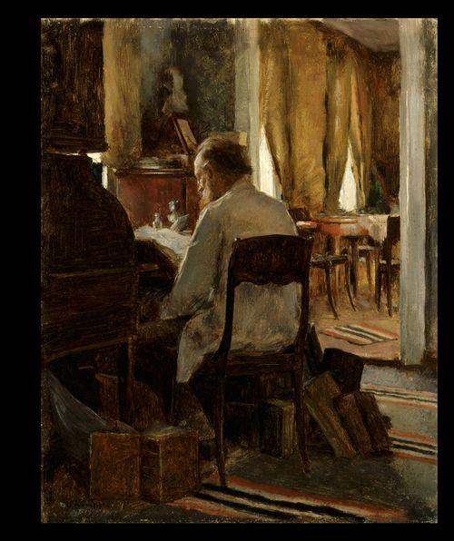 Maisteri Carl Gustaf Swan työpöytänsä ääressä