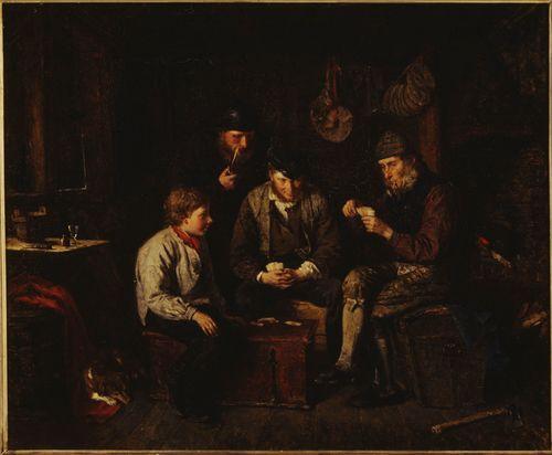 Ahvenanmaalaisia miehiä pelaamassa korttia kajuutassa (Ristiässä)