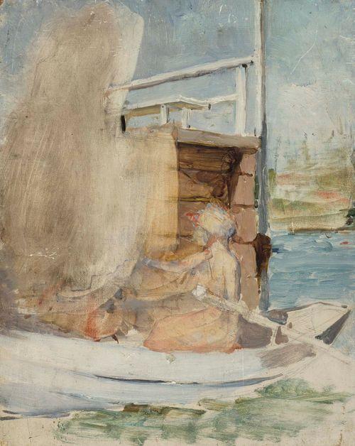 Nainen veneessä laiturin luona