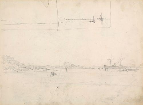 Taitettu paperi jossa luonnoksia purjeveneistä ja saaristomaisemista
