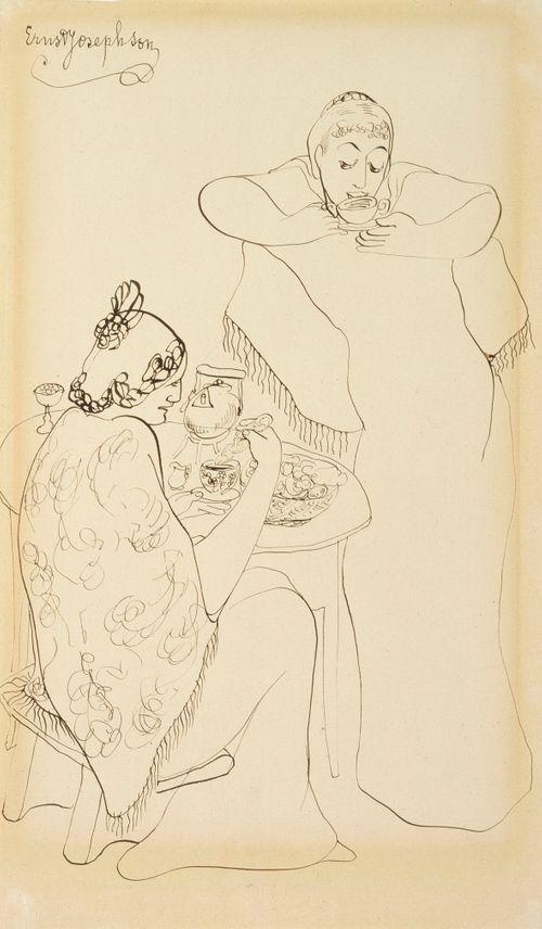 Kaksi naista kahvipöydän ääressä