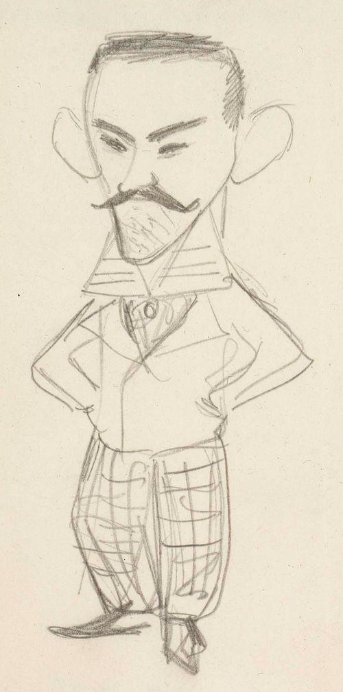 Karikatyyri taiteilija, kreivi Louis Sparresta, seisova kokovartalokuva