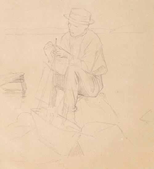 Luonnos kolmesta pojasta takiloimassa leikkilaivaa rannalla