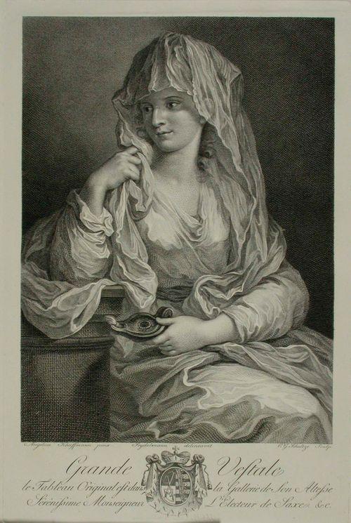 Vestaaliksi pukeutunut nainen