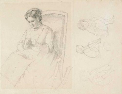 Taiteilijan äiti kutomassa sukkaa ; Samalla paperilla joitakin istuvia lapsia