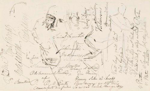 Luonnoksia mm. miehien kasvoista, enimmäkseen tekstejä ja nimiä. Toisella puolella vinjettiluonnos ja luonnos, jossa teksti: Nuori Suomi
