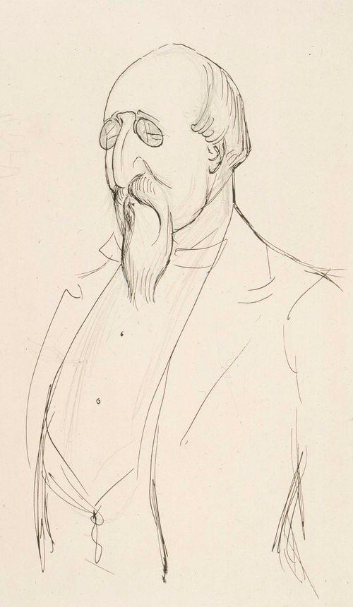 Karikatyyri Leo Mechelinistä, puolivartalokuva