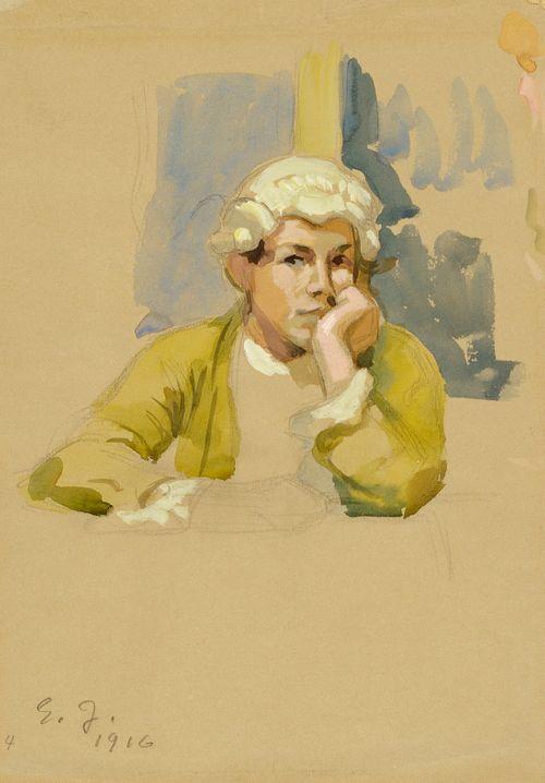 Rokokoopukuinen nuorukainen, harjoitelma maalaukseen Aurora-seura