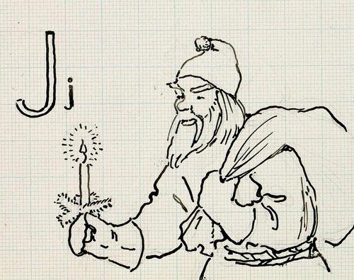 Joulupukki säkki selässä ja kynttilä kädessä
