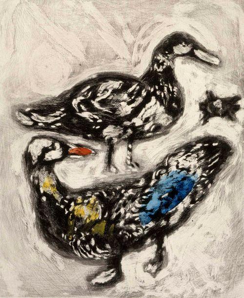 Kilpikonna ja kaksi ankkaa. Kuvitusta La Fontainen Faabeleihin, sarja nro 74