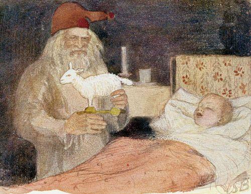 Joulupukki tuo lahjan pojan sängyn viereen