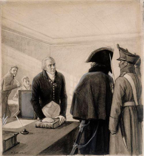 """""""Vibelius katsoo tuomarpöytään, siin' on laki Ruotsin maan"""". Originaalipiirustus Vänrikki Stoolin tarinain kuvitukseen"""