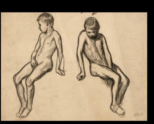 Kaksi istuva poika -harjoitelmaa