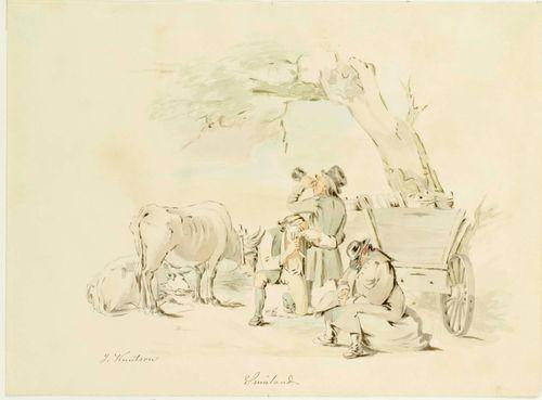 Kolme humalaista miestä, kaksi lehmää ja kärryt