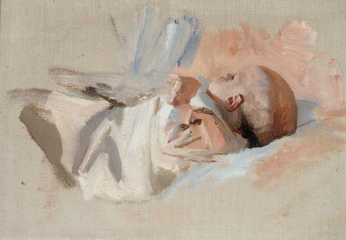 Makaava lapsi, luonnos maalaukseen Jouluaamu