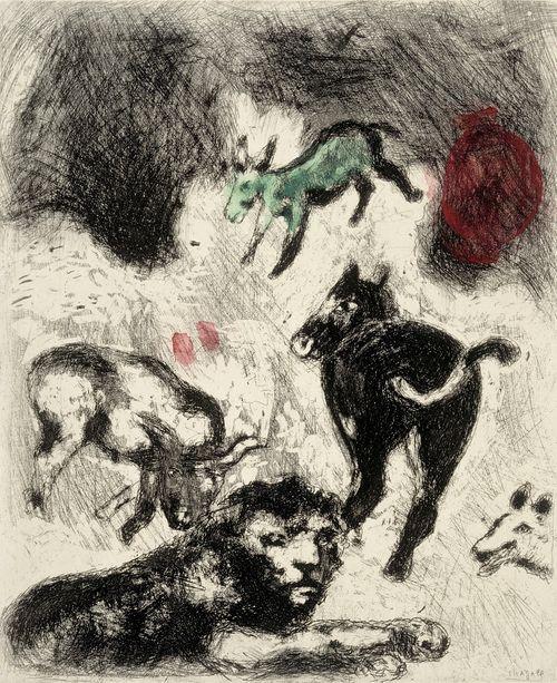 Leijona on tullut vanhaksi. Kuvitusta La Fontainen Faabeleihin, sarja nro 74