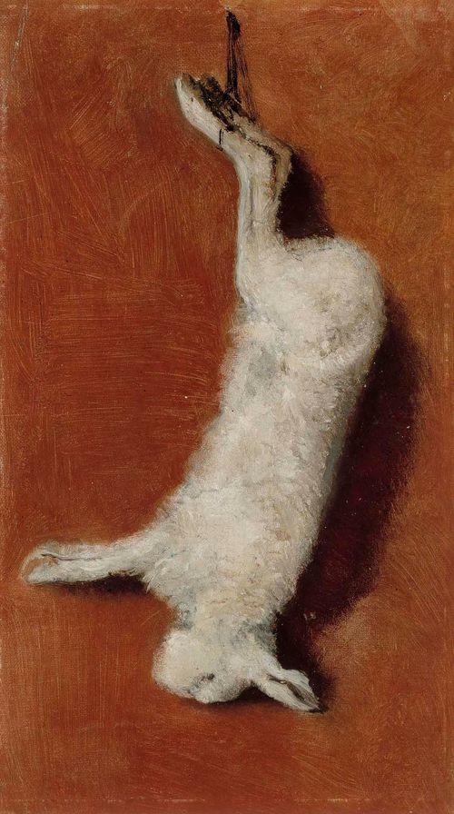Kuollut jänis, akatemiaharjoitelma  (kuva väärinpäin, jänis riippuu jaloista)