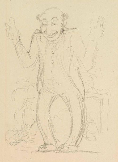 Käsivarret levällään seisova juutalainen, karikatyyri